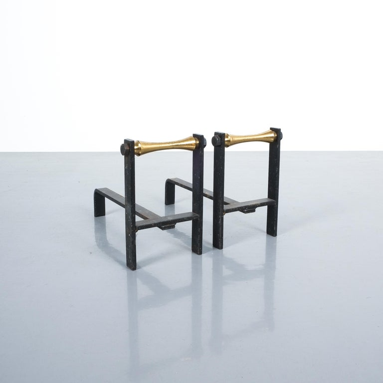 Pair of French Midcentury Andirons from Iron and Brass For Sale 1