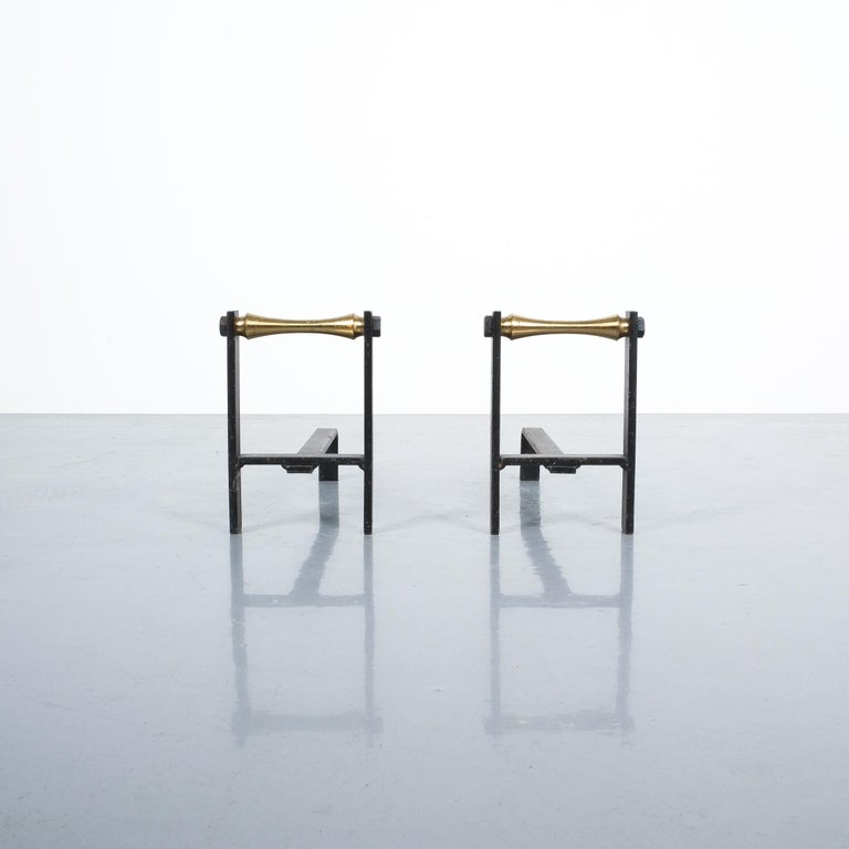 Pair of French Midcentury Andirons from Iron and Brass For Sale 3