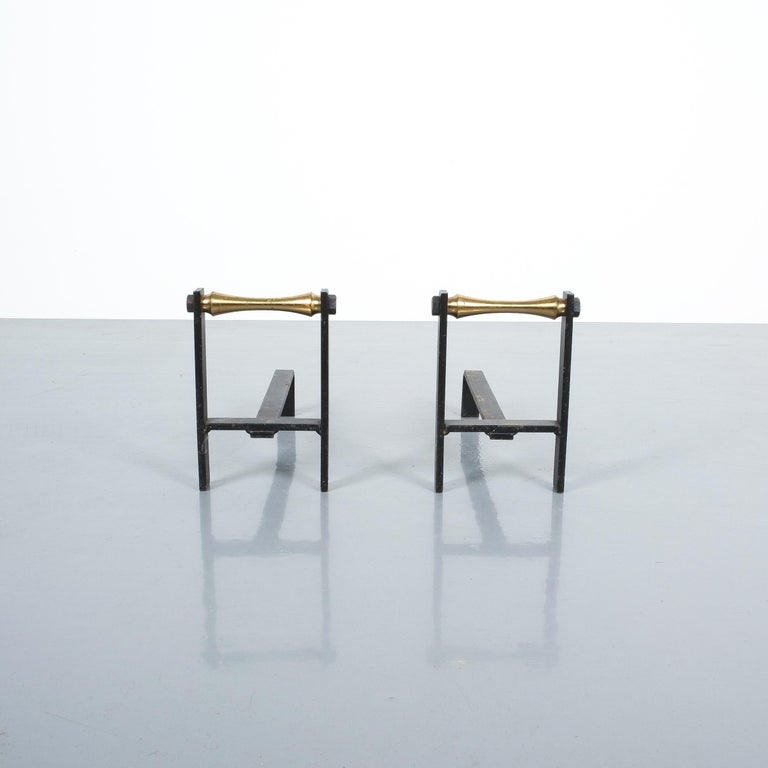 Pair of French Midcentury Andirons from Iron and Brass For Sale 4
