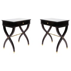 Pair of French Midcentury Black Lacquer End Tables