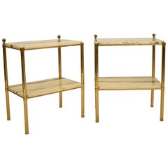 Pair of French Midcentury Brass Nightstands or Bedside Tables with Marble Tops