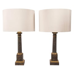 Pair of French Midcentury Faux Marble Table Lamps
