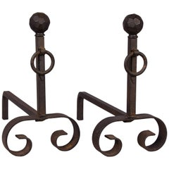 Pair of French Midcentury Fireplace Andirons