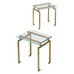 Pair of French Midcentury Gilt Iron Side Tables, Maison Ramsay