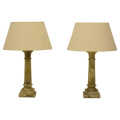 Pair of French Midcentury Green Alabaster Table Lamps, circa 1970