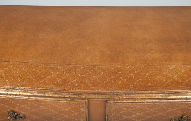 Pair of French Midcentury Leather Covered Chests of Drawers For Sale 4