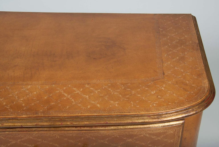 Pair of French Midcentury Leather Covered Chests of Drawers For Sale 5