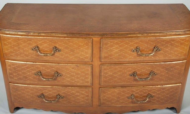 Pair of French Midcentury Leather Covered Chests of Drawers For Sale 6