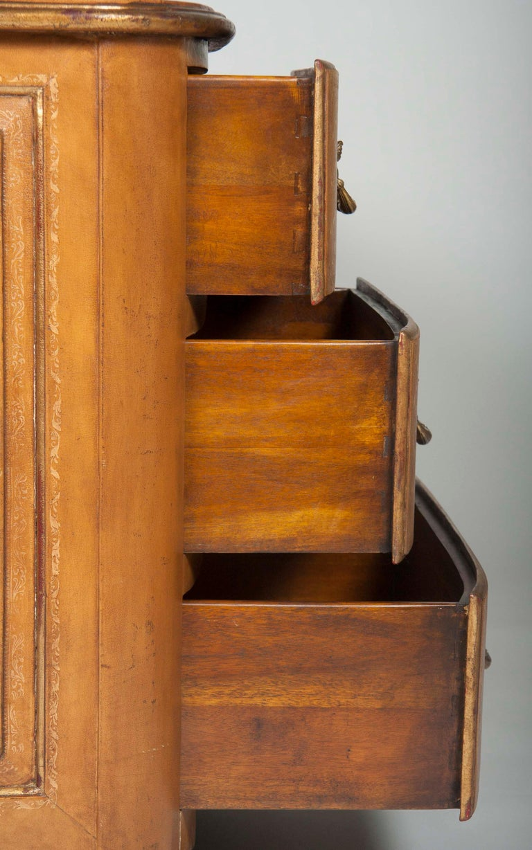 Pair of French Midcentury Leather Covered Chests of Drawers For Sale 7