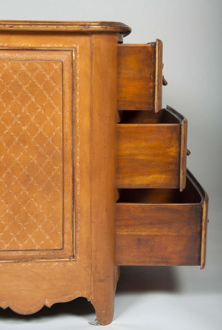 Pair of French Midcentury Leather Covered Chests of Drawers For Sale 8