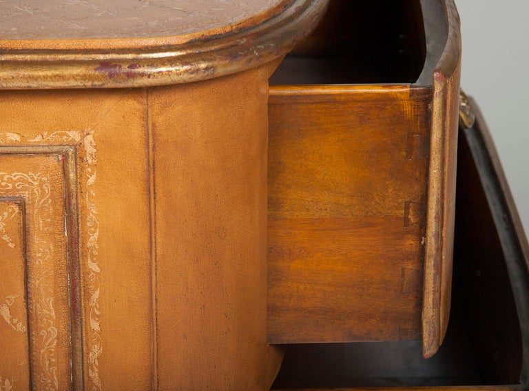Pair of French Midcentury Leather Covered Chests of Drawers For Sale 9