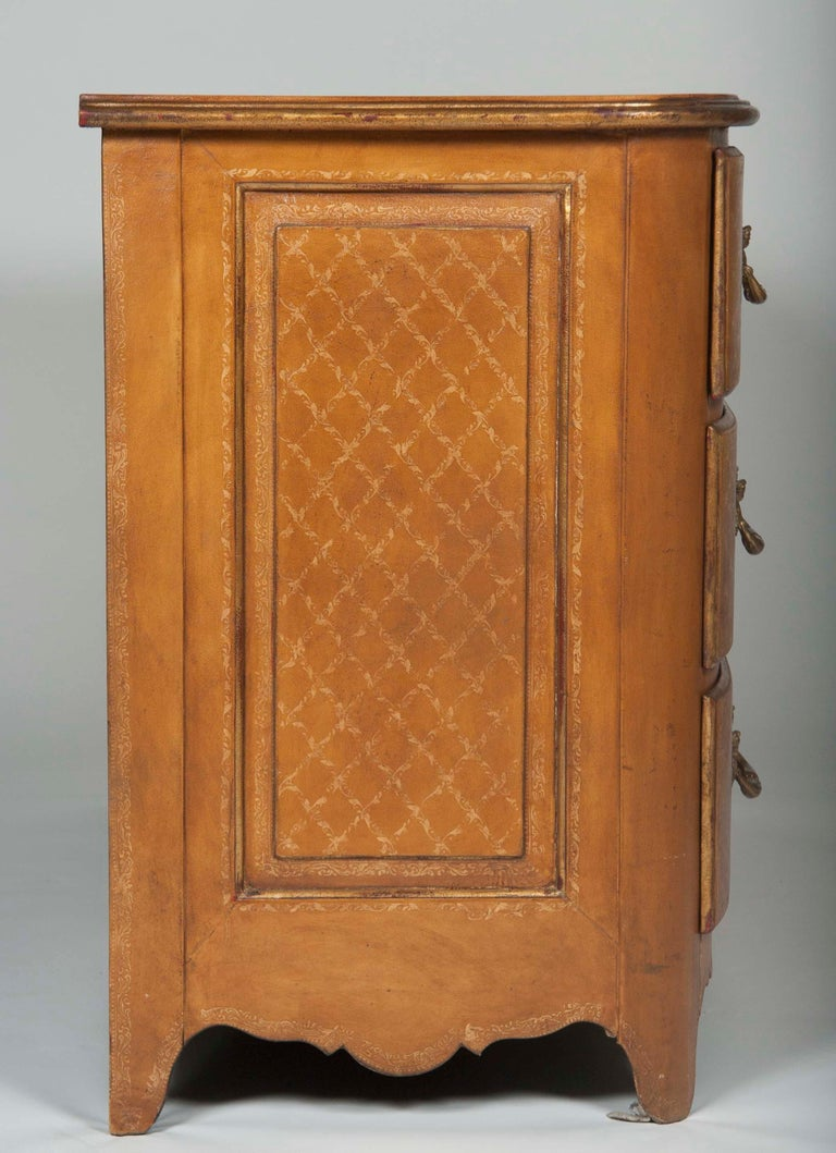 Louis XVI Pair of French Midcentury Leather Covered Chests of Drawers For Sale