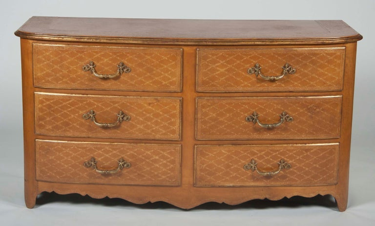 Gilt Pair of French Midcentury Leather Covered Chests of Drawers For Sale
