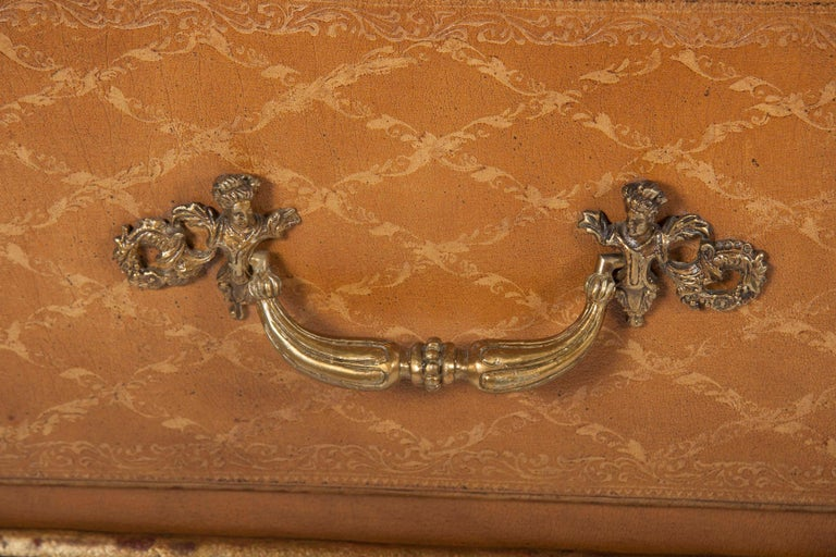 Pair of French Midcentury Leather Covered Chests of Drawers For Sale 1