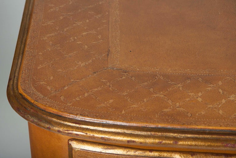 Pair of French Midcentury Leather Covered Chests of Drawers For Sale 2