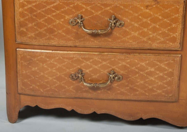 Pair of French Midcentury Leather Covered Chests of Drawers For Sale 3