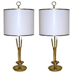 Pair of French Mid-Century Modern Brass Table Lamps Attributed to Maison Charles