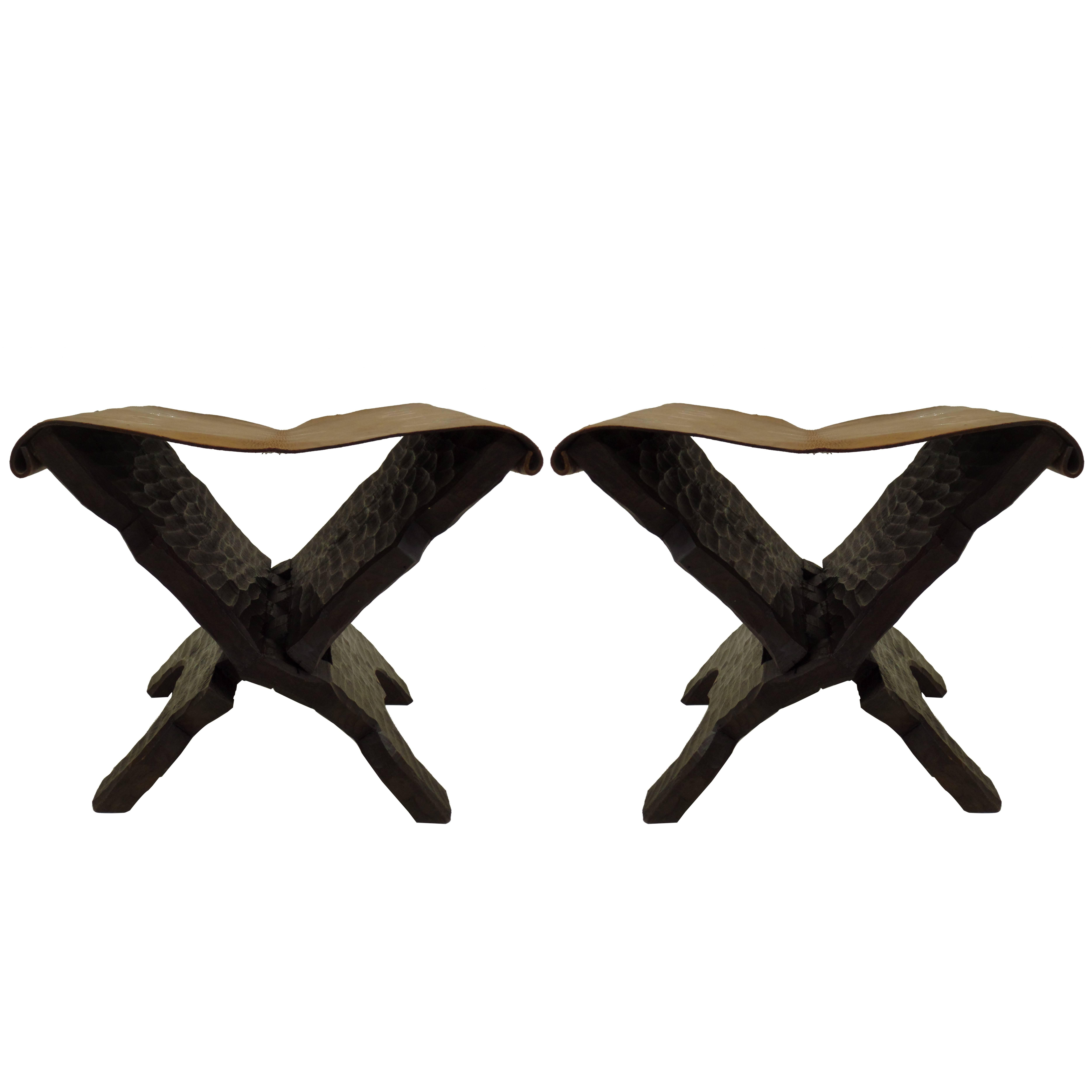 Pair of French Mid-Century Modern Carved Wood and Leather Stools or Benches