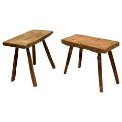 Pair of French Mid-Century Modern Craftsman or Brutalist Wood Benches