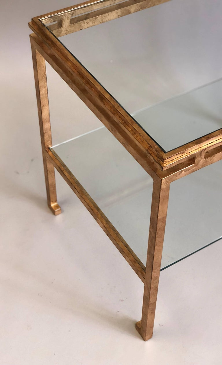 Pair of French Mid-Century Modern Gilt Iron Side / End Tables by Maison Ramsay For Sale 2
