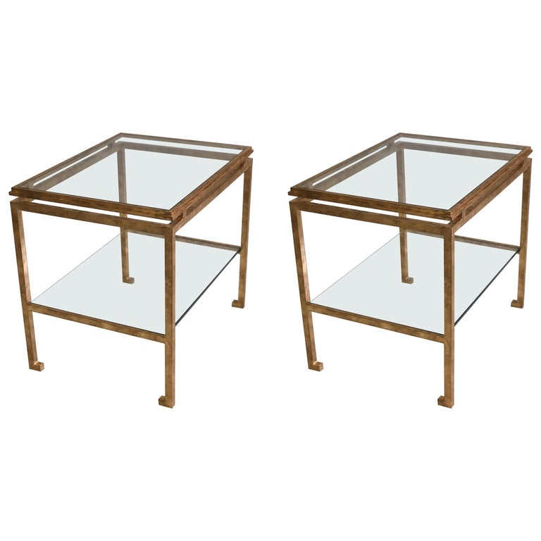Pair of French Mid-Century Modern Gilt Iron Side / End Tables by Maison Ramsay For Sale