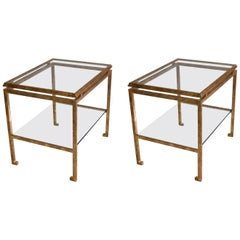 Pair of French Mid-Century Modern Gilt Iron Side / End Tables by Maison Ramsay