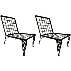 Pair of French Mid-Century Modern Grid Back Black Wrought Iron Lounge Chairs