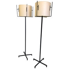 Pair of French Mid-Century Modern Iron & Parchment Floor Lamps by Jacques Adnet