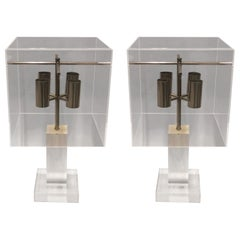 Pair of French Mid-Century Modern Lucite Table Lamps & Shades by Maison Charles