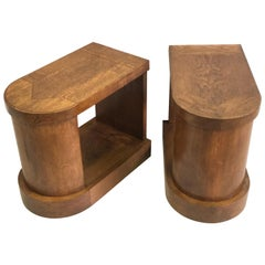 Pair of French Mid-Century Modern Oak End Tables or Nightstands, Pierre Legrain