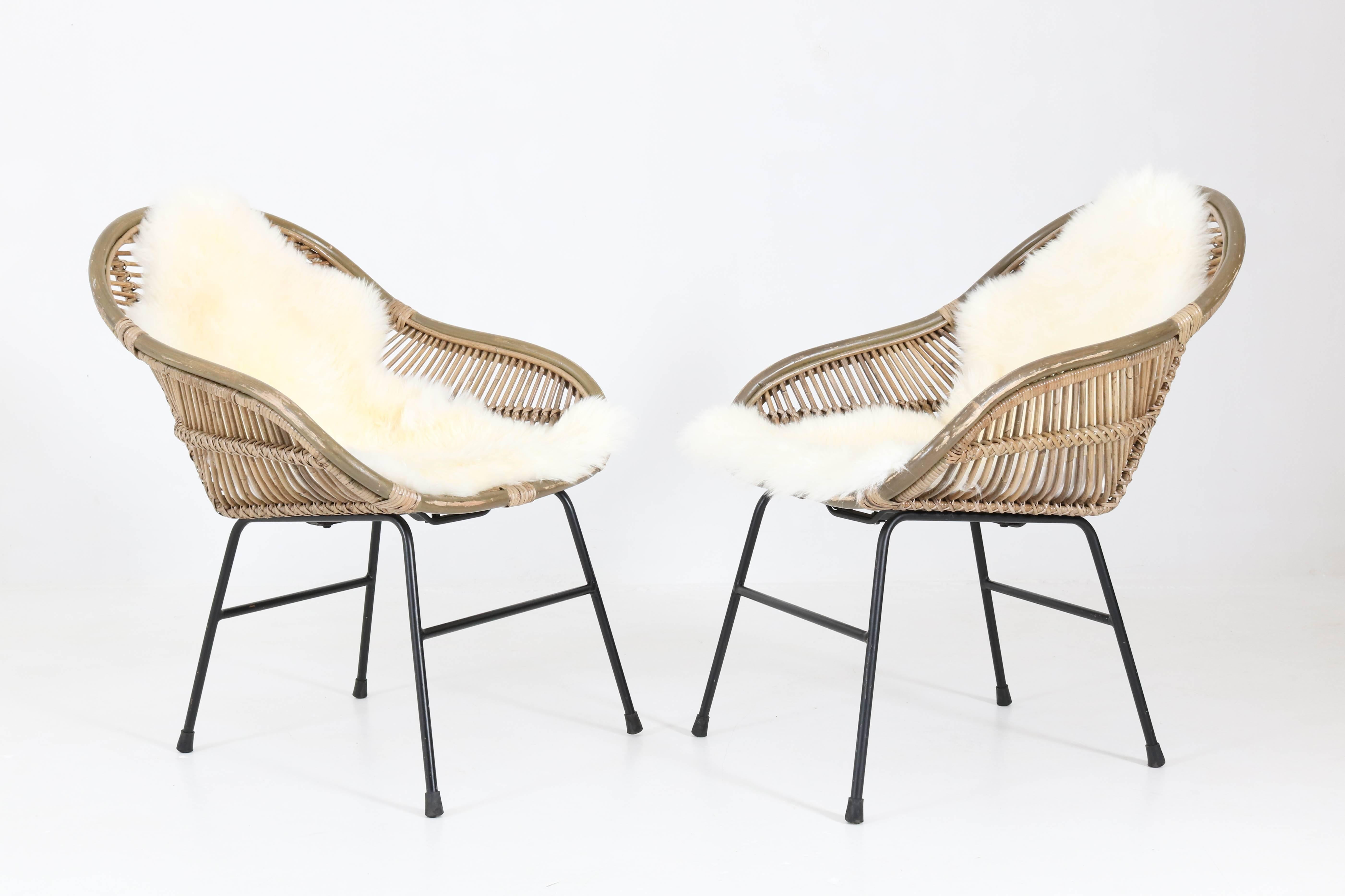 Perfect Lacquered Pair Of French Mid Century Modern Rattan Chairs, 1960s For Sale
