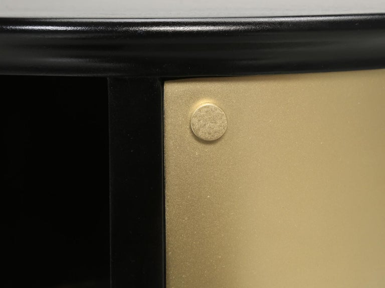 Pair of French Mid-Century Modern Side Tables, Black with Cold Plated Bronze For Sale 5