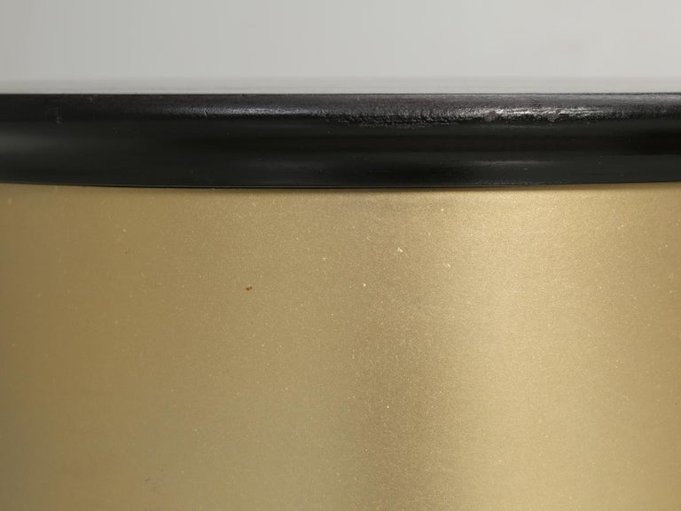 Pair of French Mid-Century Modern Side Tables, Black with Cold Plated Bronze For Sale 6