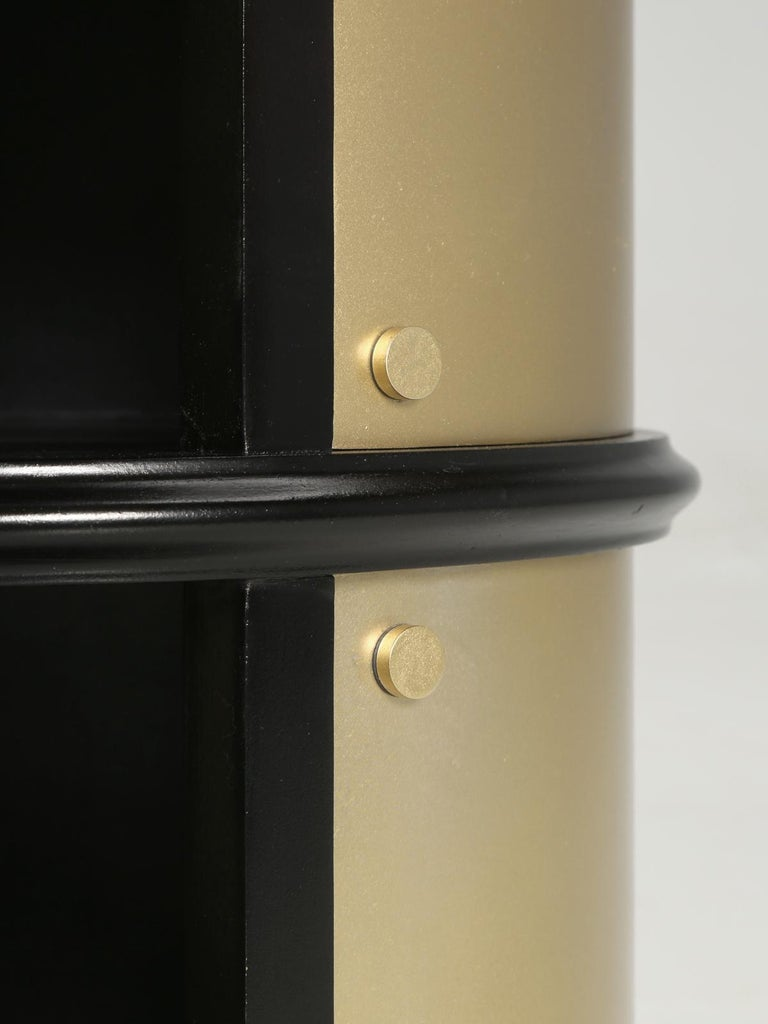 Pair of French Mid-Century Modern Side Tables, Black with Cold Plated Bronze For Sale 9