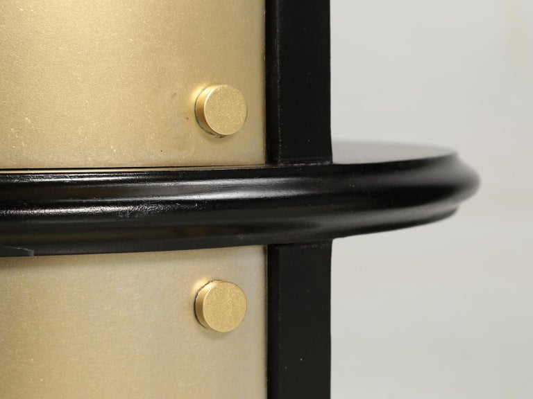 Pair of French Mid-Century Modern Side Tables, Black with Cold Plated Bronze For Sale 11