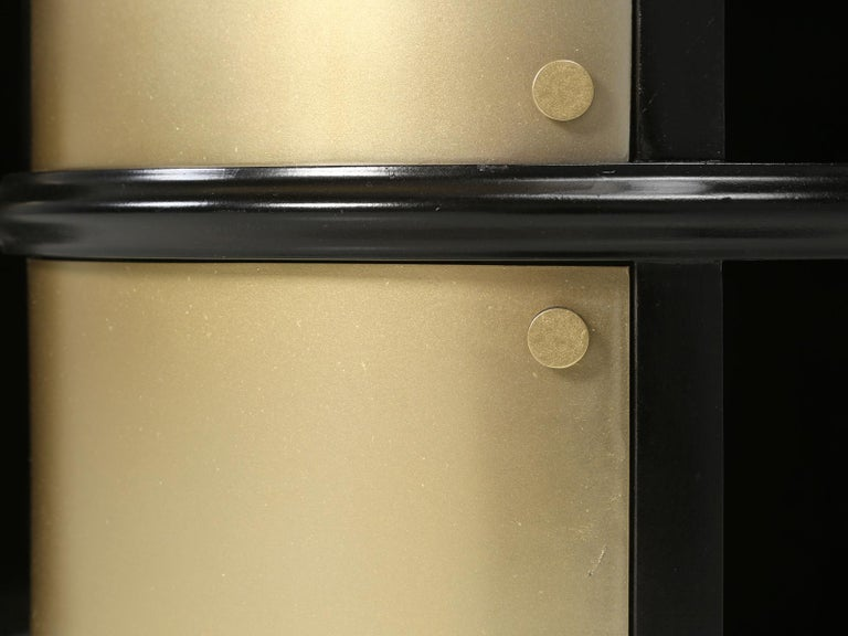 Pair of French Mid-Century Modern Side Tables, Black with Cold Plated Bronze For Sale 12