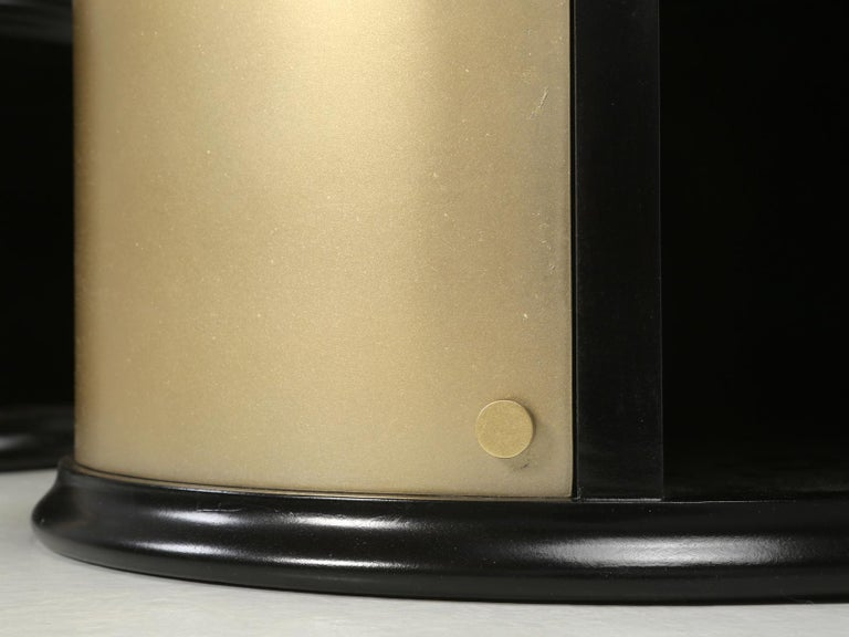 Pair of French Mid-Century Modern Side Tables, Black with Cold Plated Bronze For Sale 14