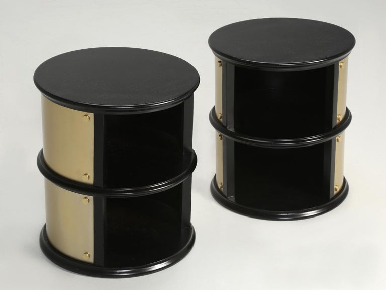 Ebonized Pair of French Mid-Century Modern Side Tables, Black with Cold Plated Bronze For Sale