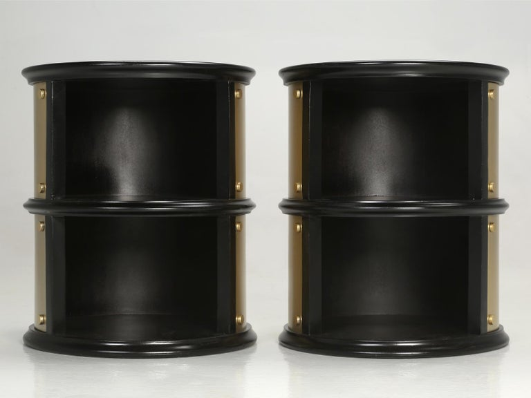 Pair of French Mid-Century Modern Side Tables, Black with Cold Plated Bronze In Good Condition For Sale In Chicago, IL