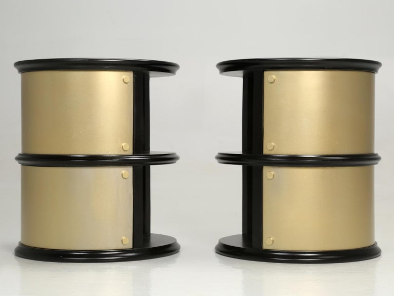 Mid-20th Century Pair of French Mid-Century Modern Side Tables, Black with Cold Plated Bronze For Sale