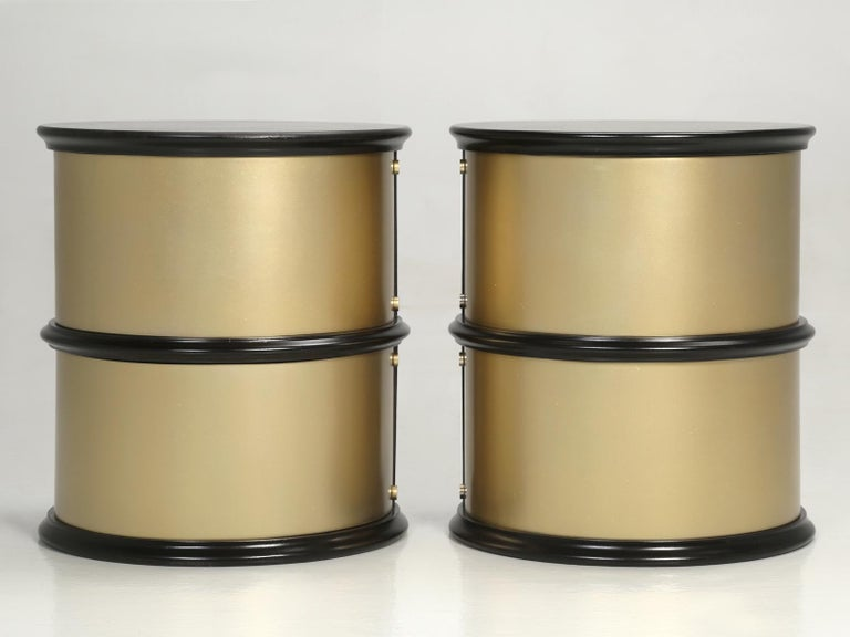 Mahogany Pair of French Mid-Century Modern Side Tables, Black with Cold Plated Bronze For Sale