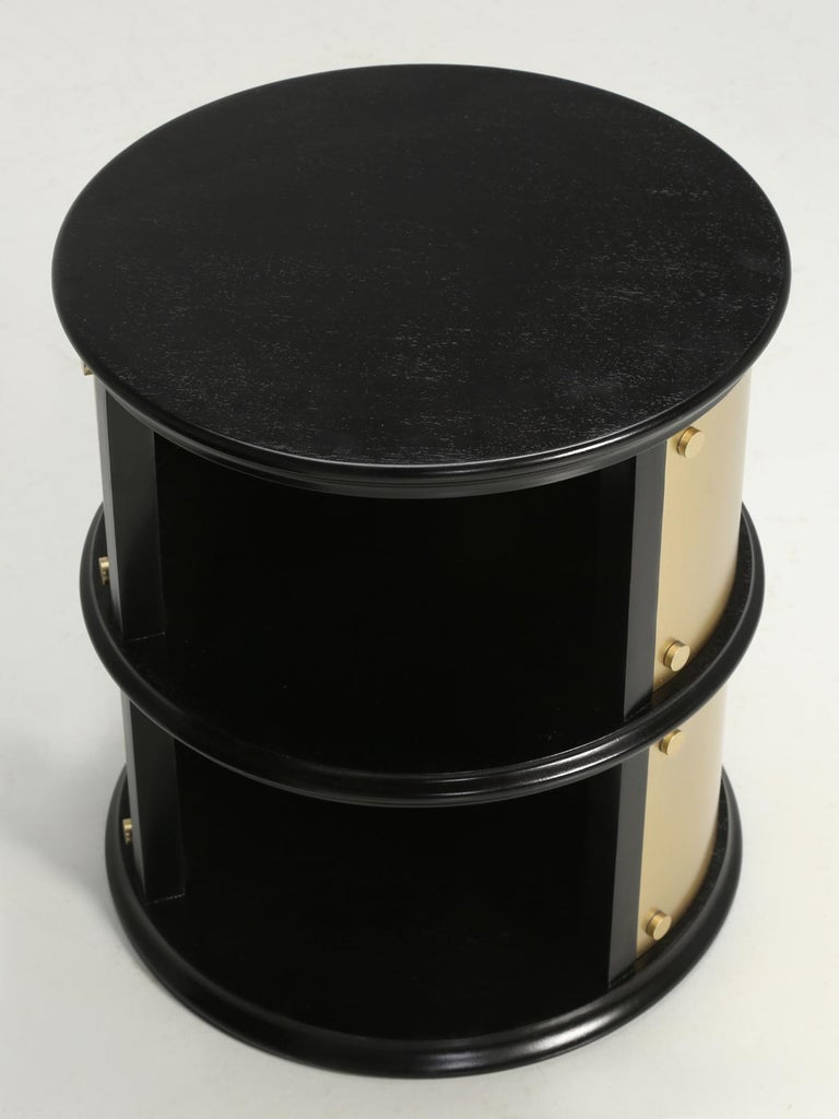 Pair of French Mid-Century Modern Side Tables, Black with Cold Plated Bronze For Sale 3
