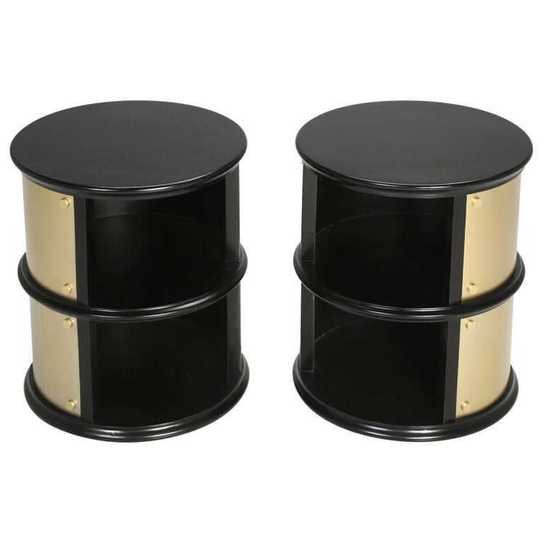 Pair of French Mid-Century Modern Side Tables, Black with Cold Plated Bronze For Sale