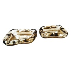 Pair of French Mid-Century Modern Smoked Glass Ashtrays, 1960s
