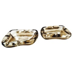 Pair of French Mid-Century Modern Smoked Iridescent Glass Ashtrays, 1960s