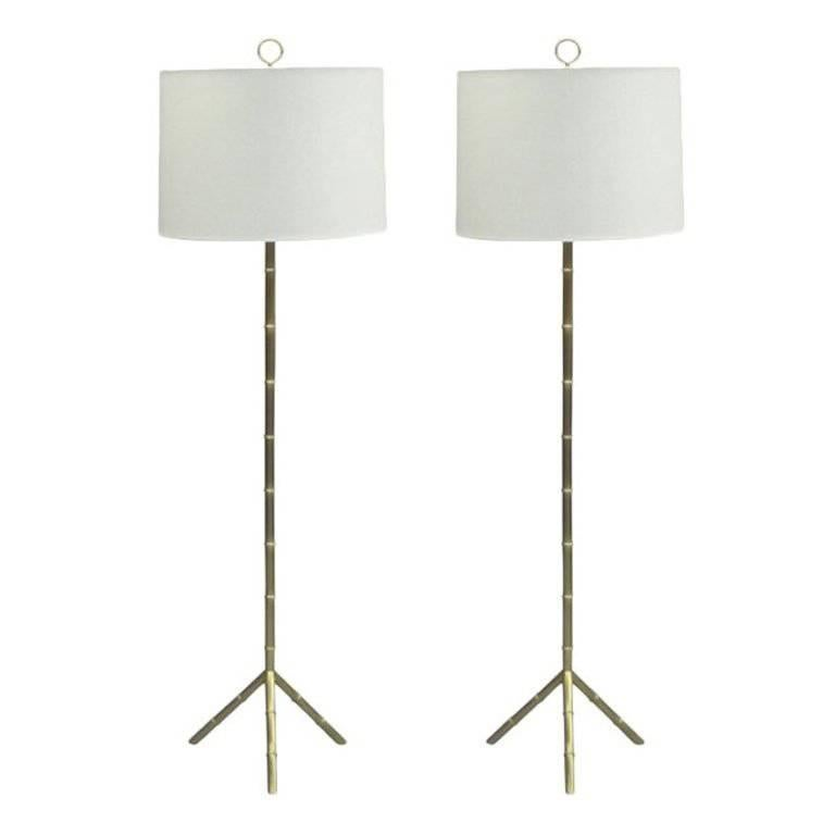 Pair of French Mid-Century Modern Style Faux Bamboo Floor Lamps, Jacques Adnet
