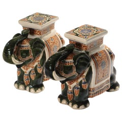 Pair of French Midcentury Porcelain Elephant Decoration, 1970s