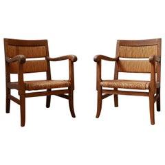 Pair of French Mid-Century Rush Armchairs