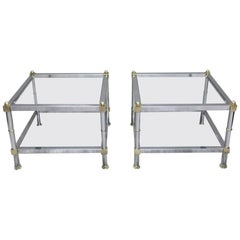 Pair of French Midcentury Square Chrome Side Tables in the Manner of Jansen