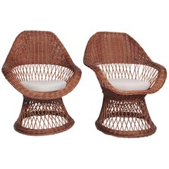 Pair of French Midcentury Wicker Lounge Chairs
